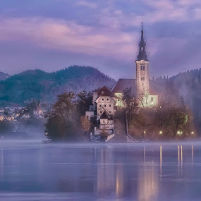Bled island by Stane Gortnar - Buildings & Architecture Public & Historical ( mountains, church, fog, slovenia, bled, lake, historical, light, island )