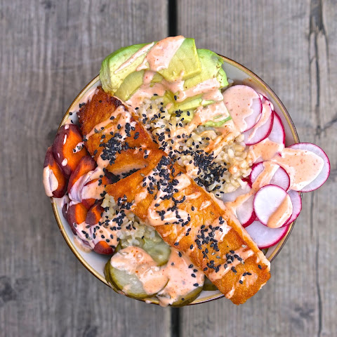 (The Recipe Redux) Asian Salmon Rice Bowl with Pickled Cucumbers and Sriracha Mayo