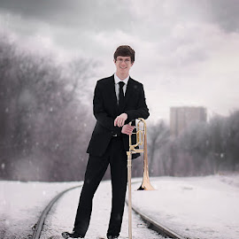 Senior Class. by Chantelle Heiskell - People Portraits of Men ( railway, railroad, snow, train, weather, senior )