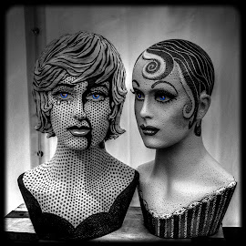 Blue eyed girls by Heather Ryder - Digital Art Things ( models, colour pop, painted, black and white, heads,  )