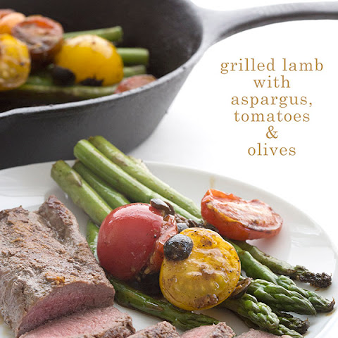 Grilled Lamb with Asparagus, Olives, & Tomatoes