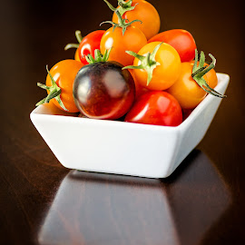 Tiny Tomatoes by Hiram Christian - Food & Drink Fruits & Vegetables ( cherry, macro, tomato, still life, food, small )
