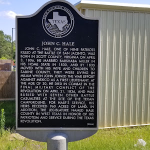 John C. Hale, one of nine patriots killed at the Battle of San Jacinto, was born in Scott County, Virginia on April 3, 1806. He married Barshaba Miller in his home state in 1830, and by 1835 moved ...
