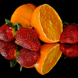orange with strawberrys by LADOCKi Elvira - Food & Drink Fruits & Vegetables ( fruits )