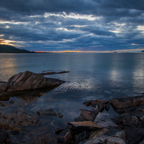 Cloudy sunset by Yvonne Reinholdtsen - Landscapes Beaches ( midnight, vesterålen, sea, summer, norway )
