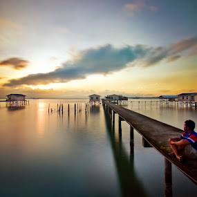 Self Potrait On Birthday  by Nelza Jamal - City,  Street & Park  Vistas ( nikon adbode photoshop, nelza jamal, d90, sunrise sandakan sabah, long exposure, malaysia, bridge, seascape, jetty, slow shutter )