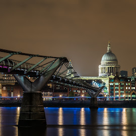 St. Paul Cathedral  by Ivan Yordanov - Buildings & Architecture Bridges & Suspended Structures ( building, uk, reflection, millennium bridge, st.paul cathedral, london, night photography, d750, light trails, cathedral, night, long exposure, westminster, nikon, river thames, river )