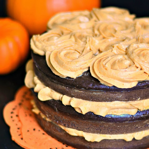 Chocolate Cake with Pumpkin Cream Cheese Frosting