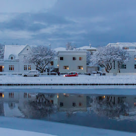 Winter Wonderland Iceland by Ingunn Sigurðardóttir - Buildings & Architecture Homes ( mirrored reflections, iceland, winter, snow, buildings )