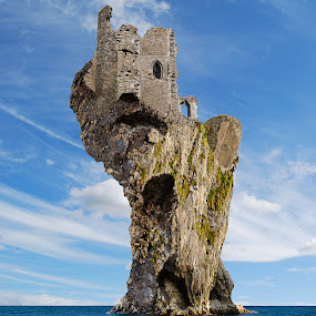 'Castle Fasante' by Mike Lloyd - Digital Art Places ( sea, castle, rock )