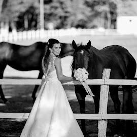 Kaca B&W by Bugarin Dejan - Wedding Bride ( expression, black and white, beautiful, horse, wedding dress, beauty, pretty, posing, eyes, looking, love, nature, bestoftheday, wedding, outdoor, hairstyle, bride, smile, flowers, light, hair )