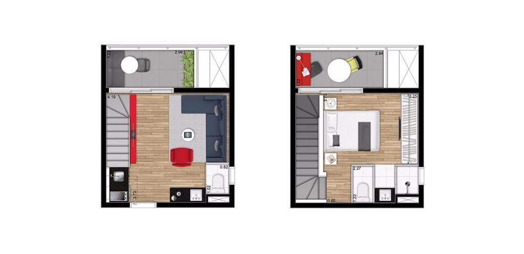 Planta Duplex de 48 m²