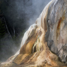 Hot Rock by Helen Mathias - Landscapes Caves & Formations ( sulphur spring, yellowstone, rock, usa, mammoth hot springs, colours )