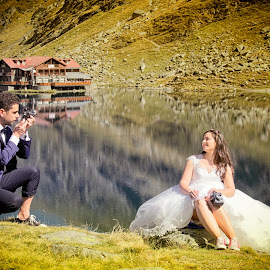 please smile by Panait Sorin - Wedding Bride & Groom ( canon, wedding, lakes, balea, lake, smile )