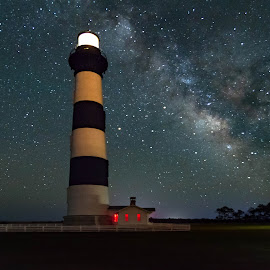 Bodie Lighthouse Milky Way by Norma Brandsberg - Buildings & Architecture Public & Historical ( bodie lighthouse, milky way, north carolina, star, www.elegantfinephotography.com, island, award winning, night, nbrandsberg@gmail.com, photo, starry, photographer, evening, norma brandsberg, photography )
