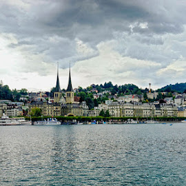Lucerne view from the Lake by Radu Eftimie - City,  Street & Park  Vistas ( lake of four  states, church, licerne, vista, buildings, switzerland )