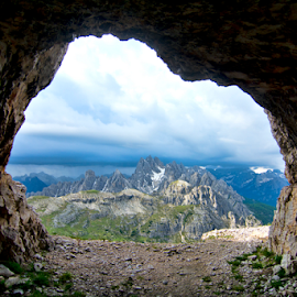 Dolomite Caves by Steve Rogers - Landscapes Mountains & Hills ( world war i, lookout, cave, war, glacier, mountians, jagged, dolomiti, snow, avalon-art, dolomites, italy, peaks, alps )