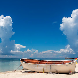 Twin Clouds by Geoffrey Wols - Transportation Boats ( tropics, bantayan island, paradise, clouds, philippines, water,  )