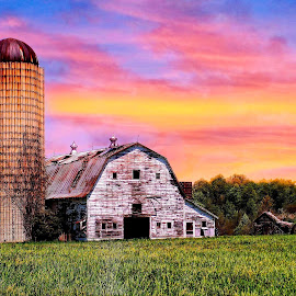 Barn at Sunset by Jeanette Runyon - Buildings & Architecture Other Exteriors ( greensboro, barn at sunset )