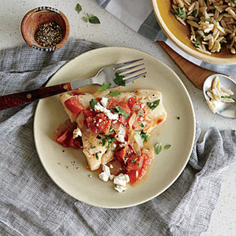 Cod Baked In A Tomato And Feta Sauce Recipe — Dishmaps