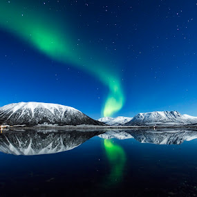 Epic Norway by Jens Andre Mehammer Birkeland - Landscapes Starscapes ( clouds, reflection, sky, winter, snow, aurora borealis, night, landscape, light,  )
