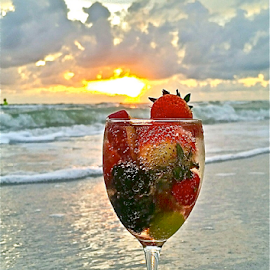 { Sunset Drink on the Beach ~ fruits from our gardens ~ 19 July }  by Jeffrey Lee - Food & Drink Fruits & Vegetables ( { sunset drink on the beach ~ fruits from our gardens ~ 19 july } )