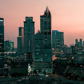 Jakarta at Dusk by Matthew H. Sturgess - Buildings & Architecture Office Buildings & Hotels ( skyscraper, indonesia, buildings, jakarta, cityscape, city )