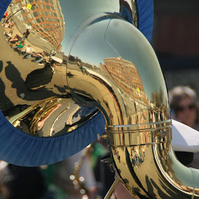 Sousaphone  Reflections by Daniel Gorman - Artistic Objects Musical Instruments ( tuba, saint patrick's day parade, saint patrick, marcher, boston, saint patrick's day, reflections, Urban, City, Lifestyle,  )
