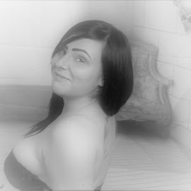 nearly ready by Janet Taffinder - Nudes & Boudoir Boudoir ( black and white, female, smile )
