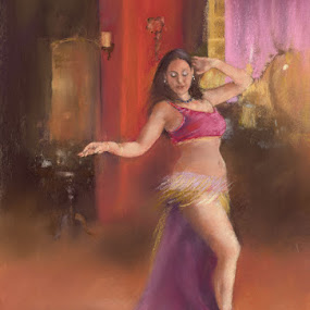 Belly Dancer by Margaret Merry - Painting All Painting ( dancing, pastel, spanish, bailaora, art, belly dancer, drawing, spain, andalucia, margaret merry, prints, dance, painting, almeria, dancer )
