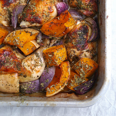 Roast Chicken with Pumpkin, Sage and Red Onion