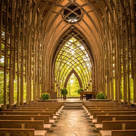 We Come to Worship by Jennifer  Loper  - Buildings & Architecture Places of Worship ( rock, sky, glass, piano, altar, leaves, pews, natural light, wood, see-through, chapel, trees )