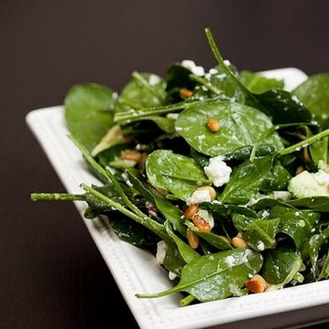 Spinach, Feta and Roasted Pine Nut Salad