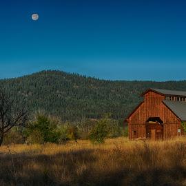 Moon Over Halfway, Oregon by Jennifer McWhirt - Landscapes Prairies, Meadows & Fields ( moon, barn, landscape, prairie, moonrise, fields )