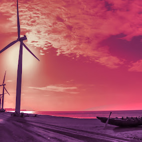 beach and wind mills by Diofel Dagandan - Landscapes Beaches ( street park, finearts, skylines, digital arts, landscape )