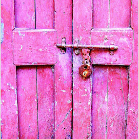 Closed Door by Shishir Pal Singh - Novices Only Abstract ( abstract, lock, door, rust, pink.old building )