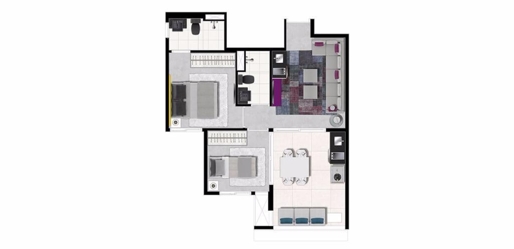 Planta Tipo 2 Dorms 46 m²