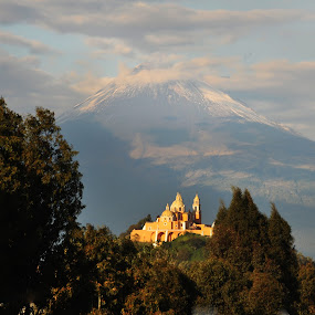 Church and Volcano by Cristobal Garciaferro Rubio - Buildings & Architecture Places of Worship ( cholula, church, mexico, popoctepetl, puebla )