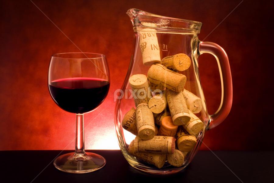 Still Life With Wine by eZeepics Studio - Food & Drink Alcohol & Drinks ( port, wine, festive, vertical, cork, cap, pleasure, alcoholic, crystal, taste )