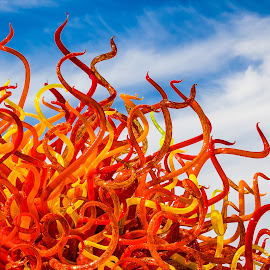 Reaching by Dave Lipchen - Artistic Objects Glass ( orange, red, sky, chilhuly glass, yellow,  )