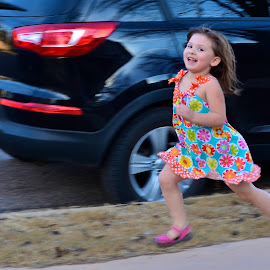 So Little Time To Do So Much by Gloria Straight - Babies & Children Children Candids ( child, girl, candid action shot, running )