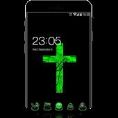 App Green Cross Cool Tech Theme: Dark Neon Green apk for kindle fire