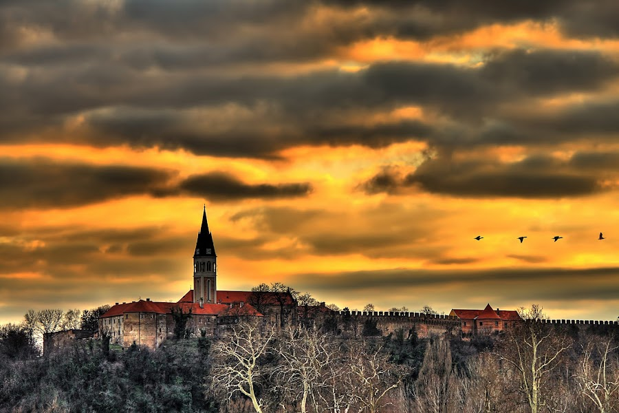 Sunset over castle by Гојко Галић - Buildings & Architecture Public & Historical ( history, fortress, sunset, castle, birds )