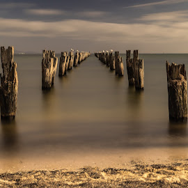 Old pier by Allan Williams - Landscapes Waterscapes ( #jetty, #cliftonsprings, #pier )