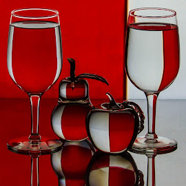 The Reds And Whites of It by Lisa Hendrix - Artistic Objects Glass ( inversion, fruit, reflection, colors, white, reflections, object, red, pattern, color, apple, artistic, glass, wine glasses, pear,  )