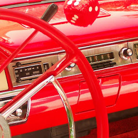 Vintage Interior 3 by Christy Leigh - Transportation Automobiles ( car interior, dice, classic cars, red, vintage cars, vintage, white, classic )