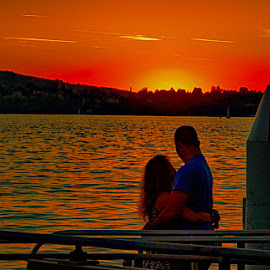Romance by Radu Eftimie - Landscapes Sunsets & Sunrises ( zurich lake, sunset, switzerland, couple in love )