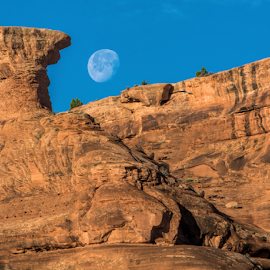 Morning Moon at Arches by Phyllis Plotkin - Landscapes Caves & Formations ( moon, arches national park, rock formations, near sunrise, landscape )