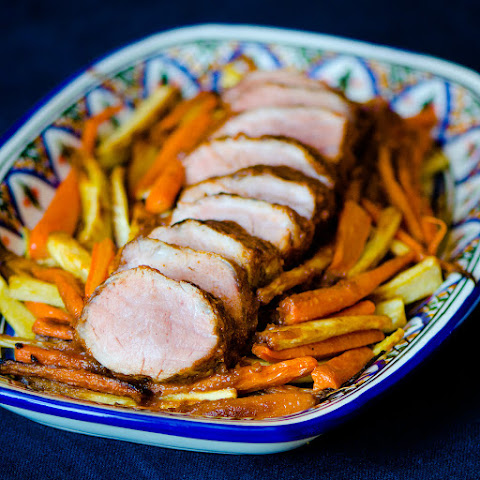 Date and Tamarind Pork Tenderloin with Roasted Carrots and Parsnips