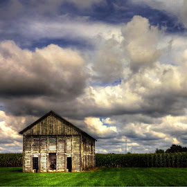 barn by Fraya Replinger - Buildings & Architecture Other Exteriors ( clouds, barn, cloudy, corn, green grass,  )